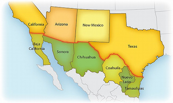 Sister City Map  |What Two States Border Mexico