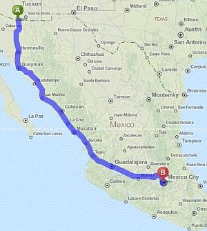 Map nogales mexico mexico map for Resorts driving distance from nyc